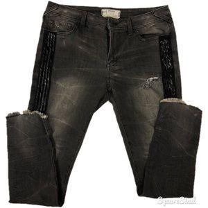 Free People Sequin Strip Skinny Jeans